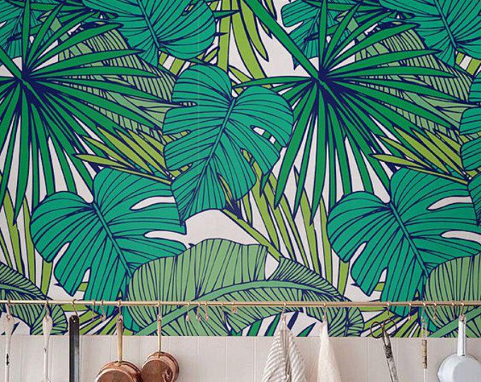 feuille de monstera palm wallpaper fond d 39 cran amovible autocollant papier peint d co murale. Black Bedroom Furniture Sets. Home Design Ideas