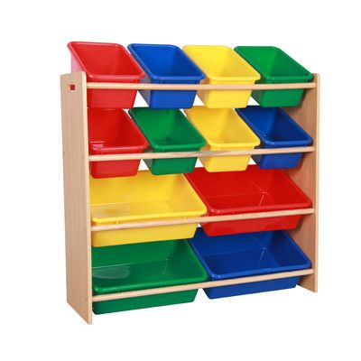 teamson kids toy organizer shelf with plastic bins 28 toy. Black Bedroom Furniture Sets. Home Design Ideas
