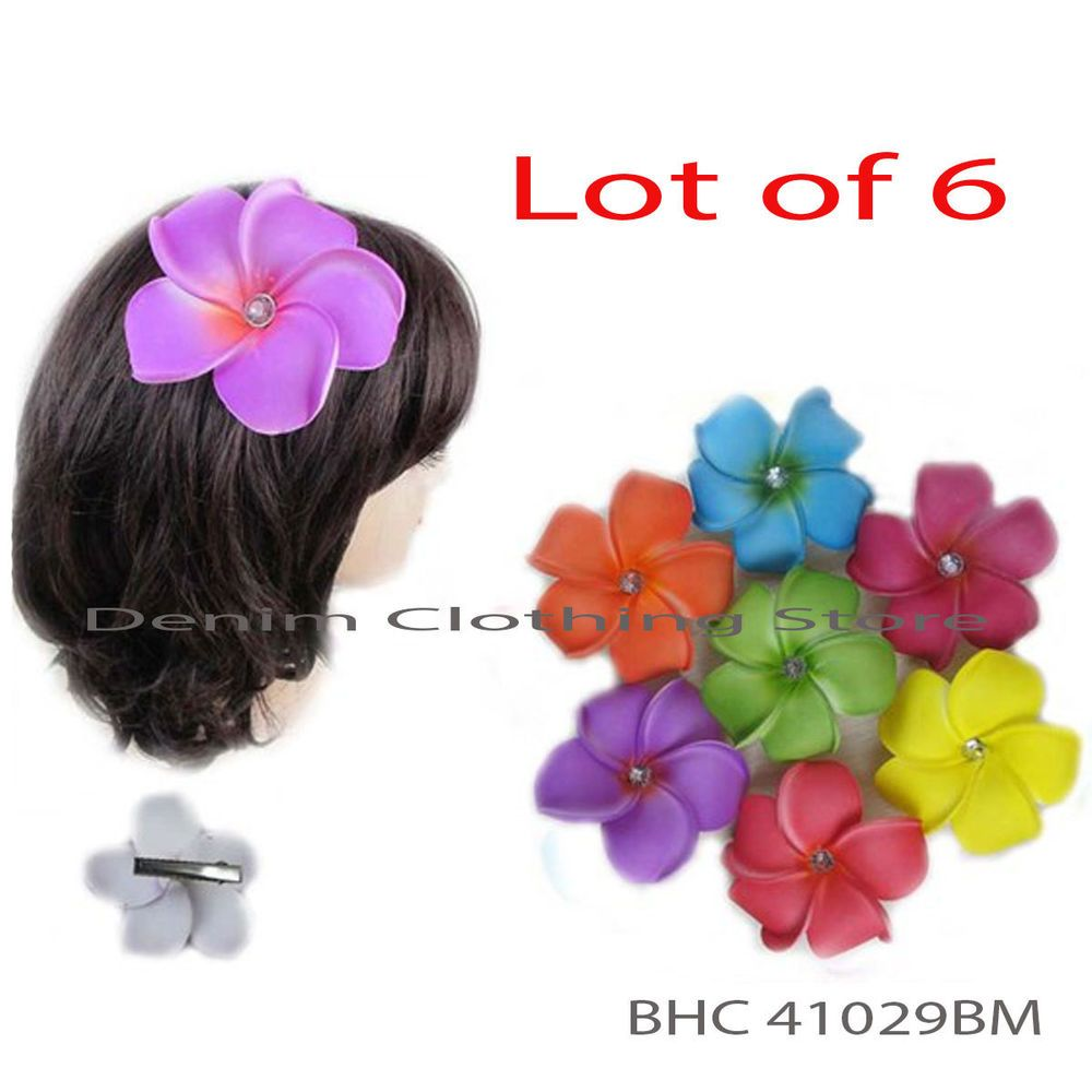Lot 6 hawaiian flower hair clip stone accent bridal wedding party lot 6 hawaiian flower hair clip stone accent bridal wedding party foam flower 4 izmirmasajfo Image collections