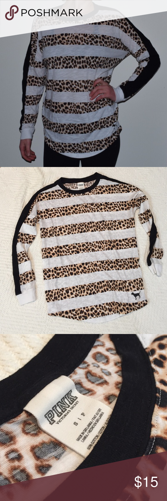 💖VS Pink Long Sleeve Tee Cheetah Stripe Small💖 Long sleeve tee from Victoria's Secret Pink. Put cheetah spots and stripes with long black stripes down the arms. Worn a handful of times around the house. It is like new. PINK Victoria's Secret Tops Tees - Long Sleeve