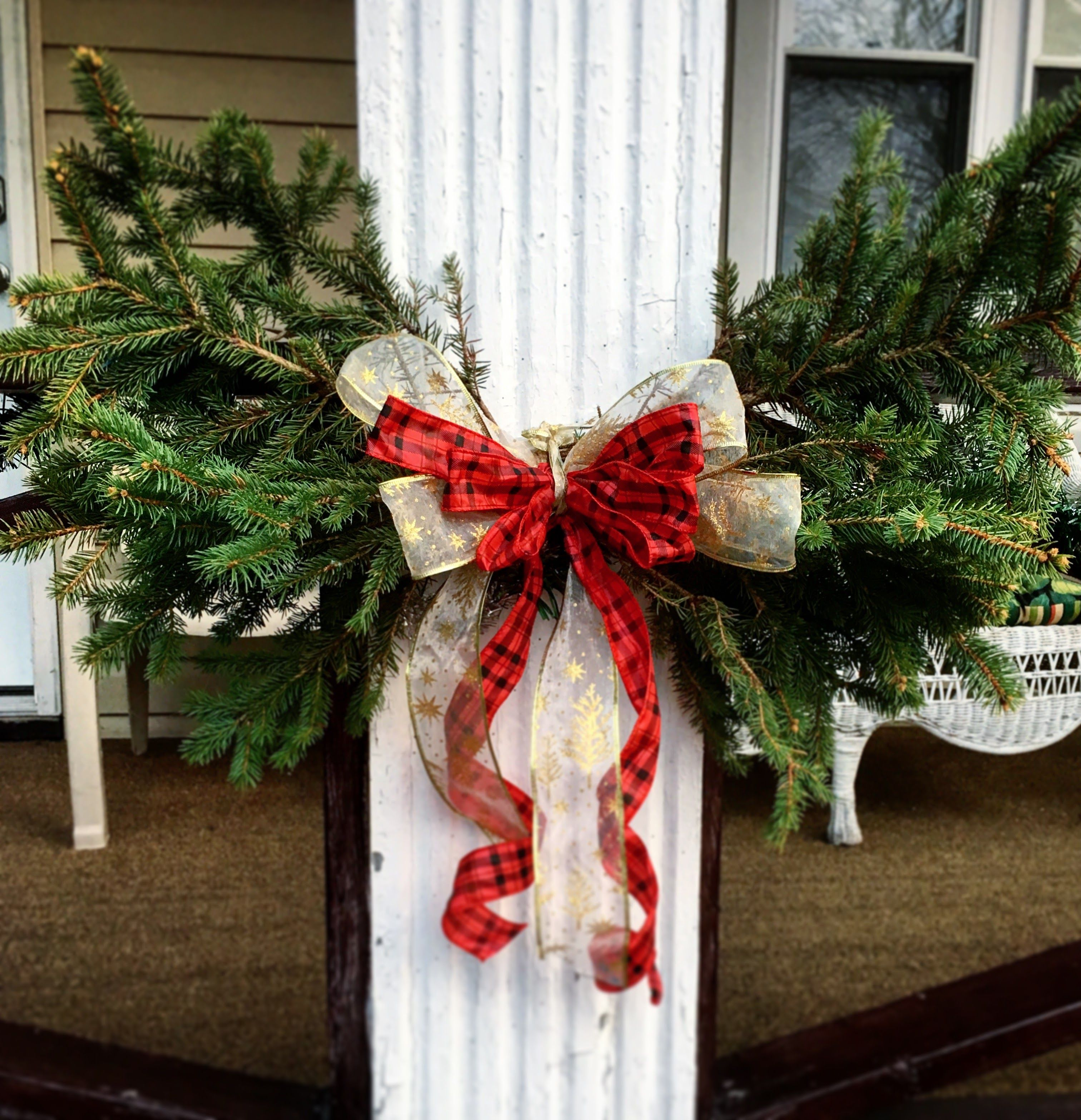 Porch Swag Made With Leftover Christmas Tree Branches Leftover Christmas Tree Christmas Deco Christmas Tree Branches