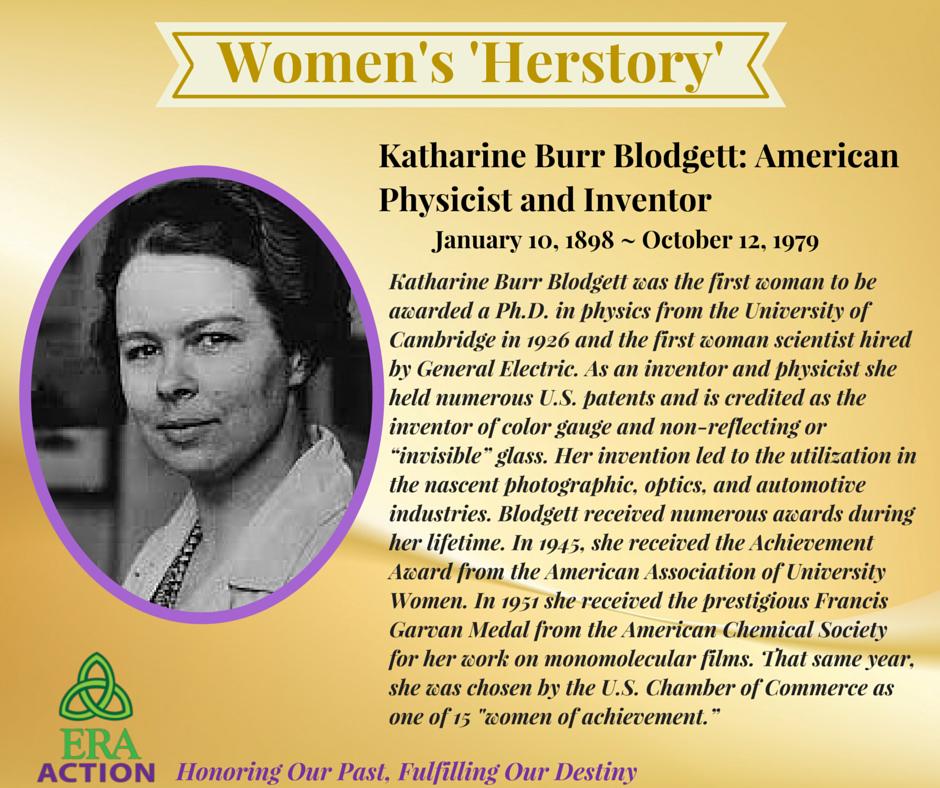 ERA Action Womens Herstory Honoring Katharine Burr Blodgett American Physicist And Inventor