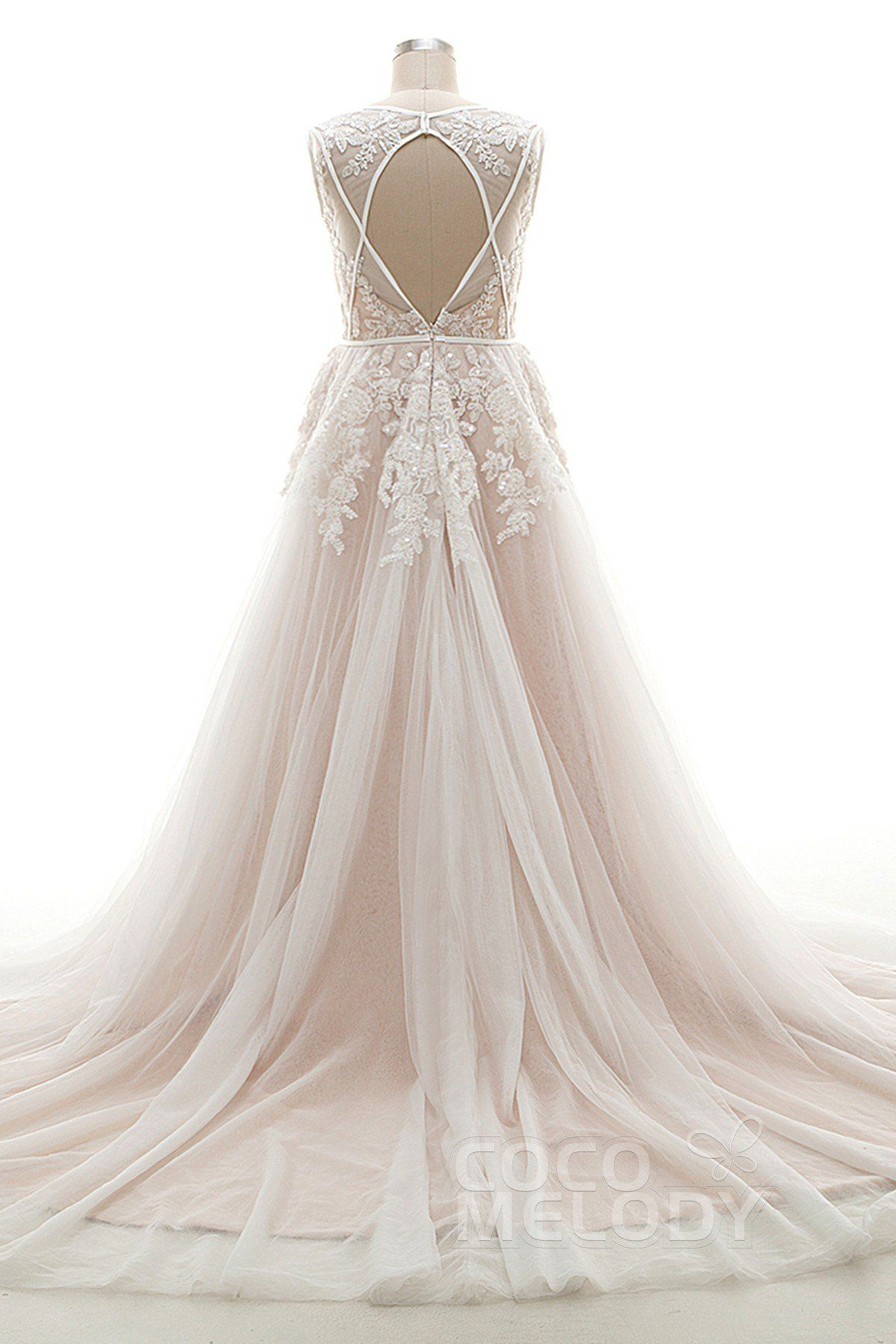 Aline court train tulle and lace wedding dress ld chapel
