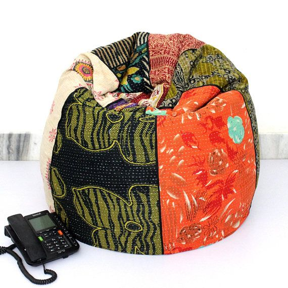 Fine Handmade Quilted Cotton Floral Bohemian Bean Bag Chair Home Short Links Chair Design For Home Short Linksinfo