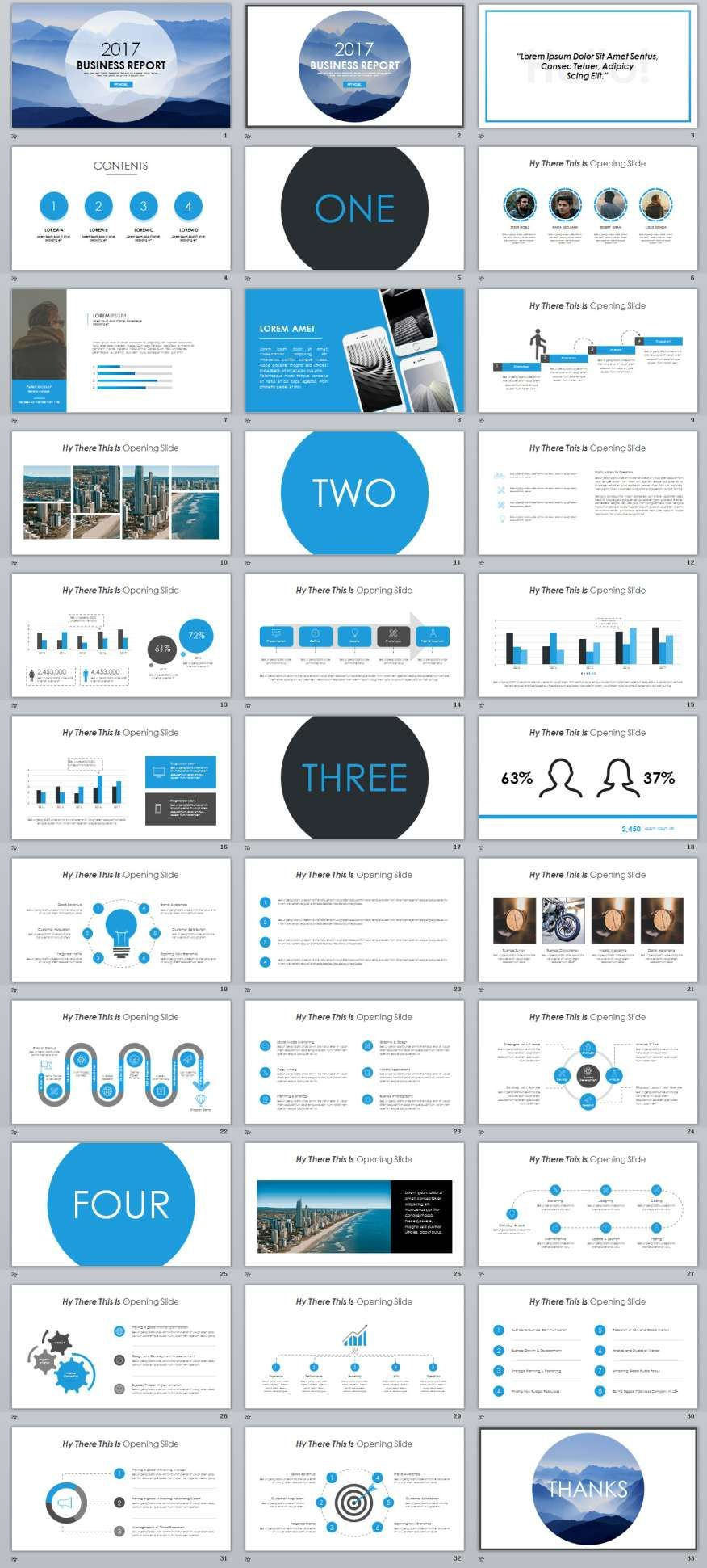 33+ blue business report powerpoint templates | business, Powerpoint templates