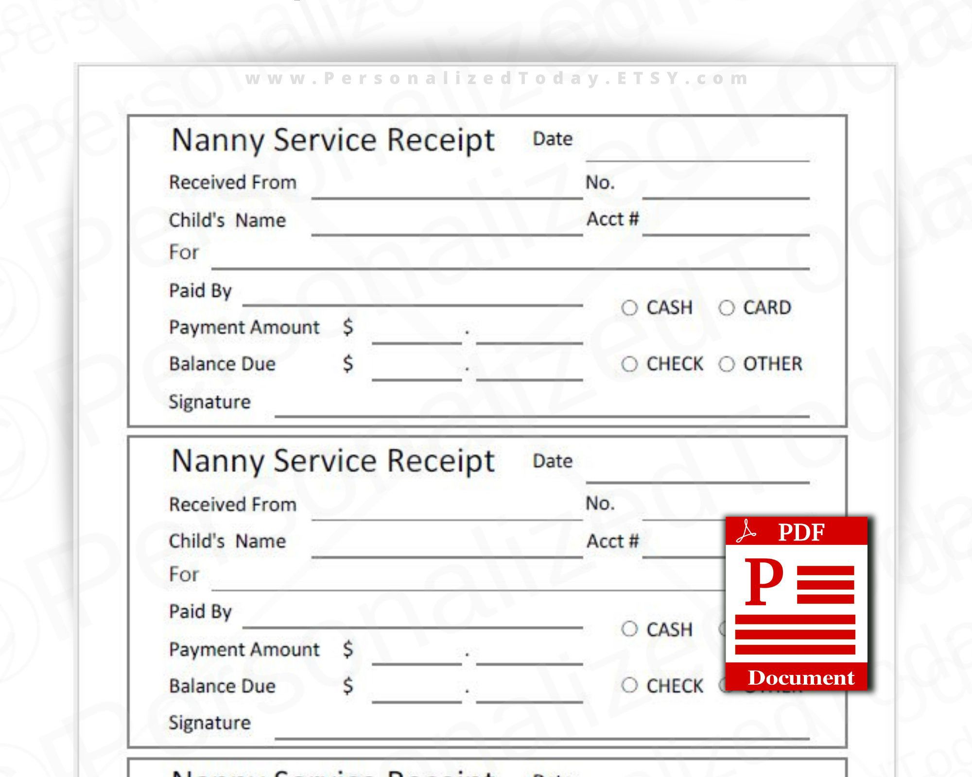 Printable Nanny Receipts Fillable Editable And Print And Write Etsy Printing Business Printables Lettering