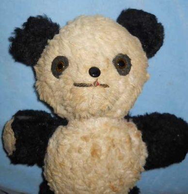 Vintage 1950 S To 1960 S Stuffed Animal Old Toy Plush Panda Bear Panda Bear Bear Happy Panda