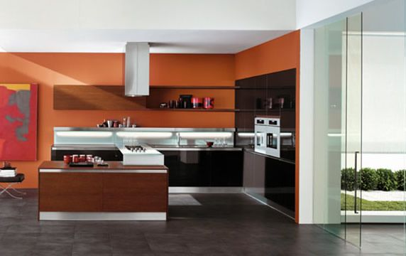 Kitchen color combinations modern kitchen color scheme orange kitchen cabinets kitchen - Modern kitchen color combinations ...