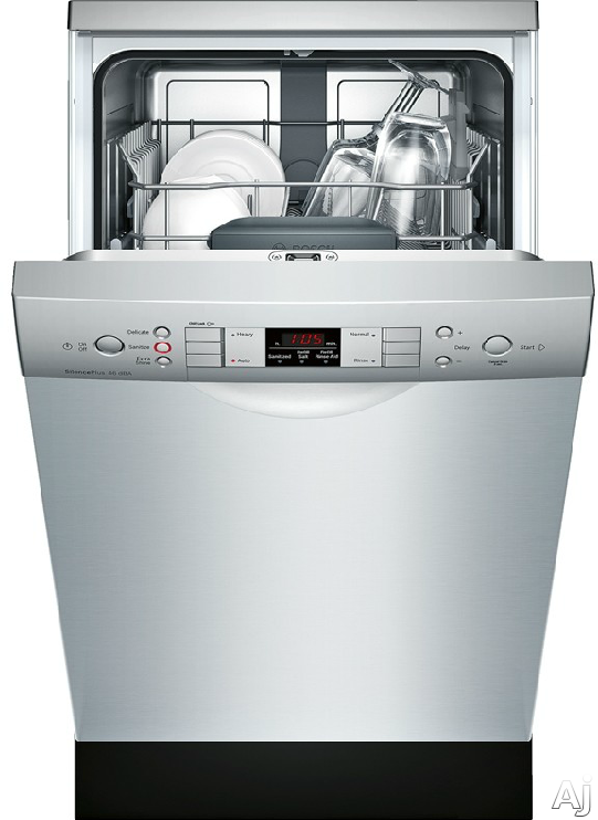 Bosch Spe53u55uc 18 Inch Full Console Built In Dishwasher With 9 Place Settings 4 Wash Cycles 46 Dba Sound Level Aquastop Plus Rackmatic Infolight Acti Built In Dishwasher Steel Tub 18 Inch Dishwashers