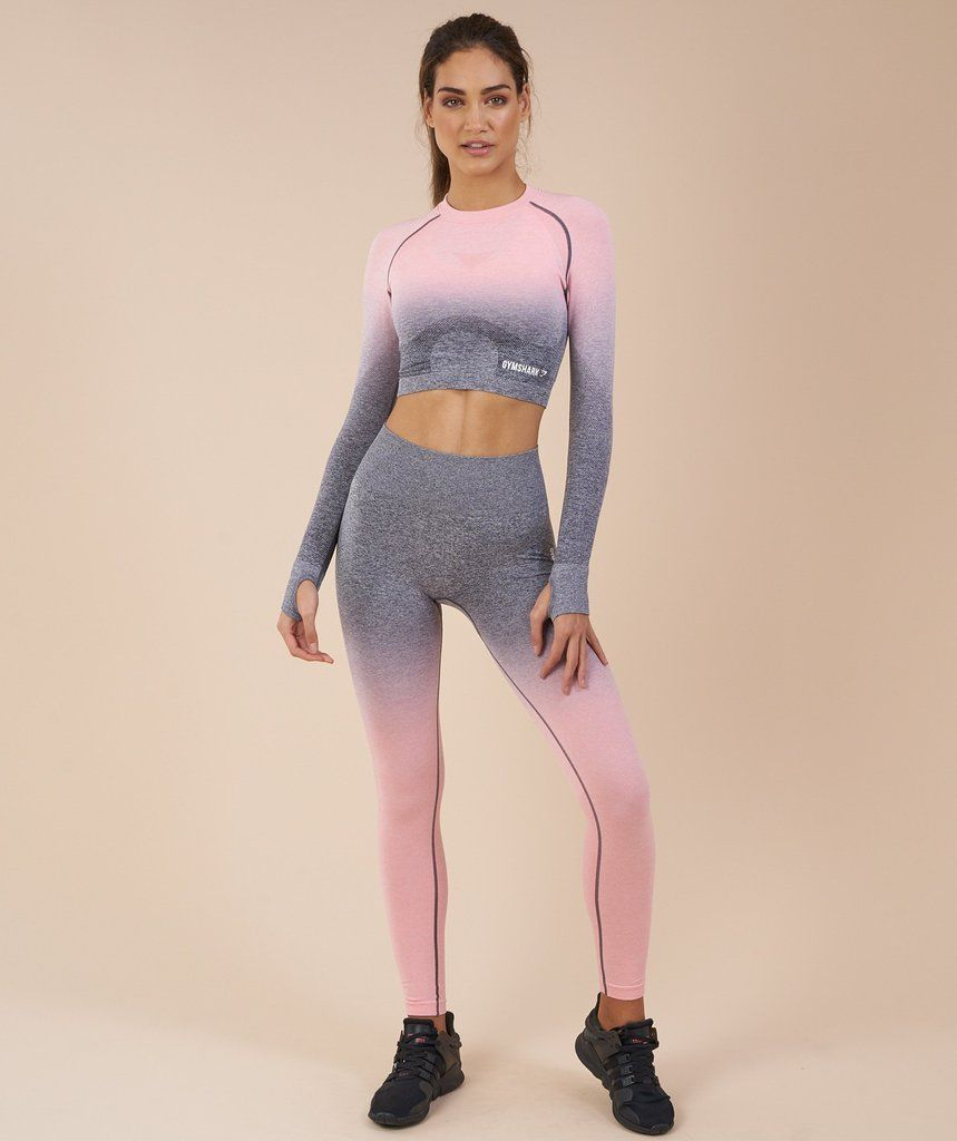 4f63e6c4b4c5e Gymshark Ombre Seamless Crop Top - Peach Pink/Charcoal in 2019 ...