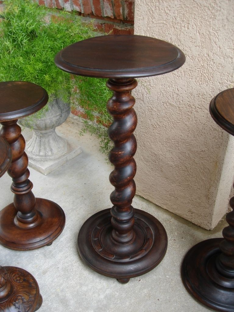 Tall Antique French Oak Barley Twist Pedestal Table Plant