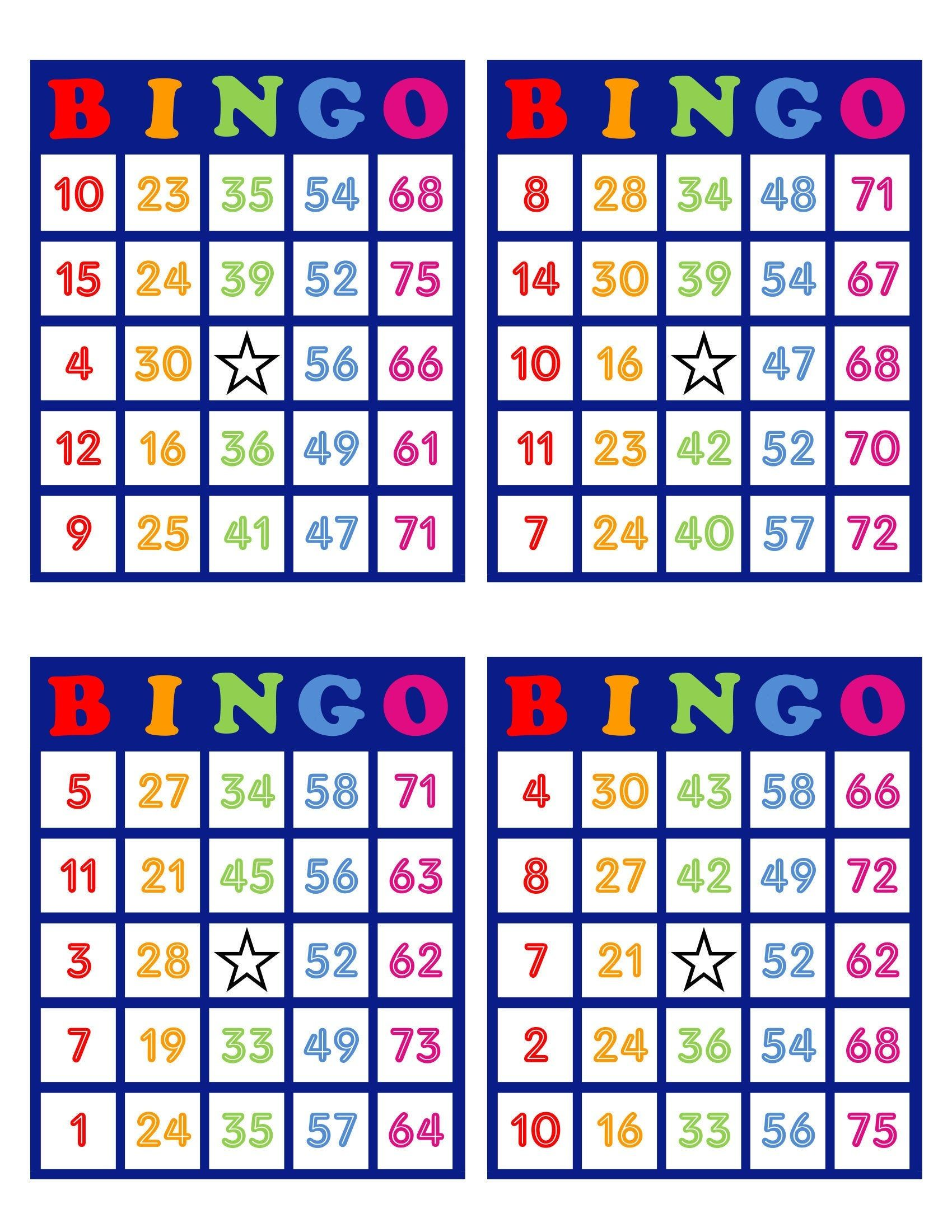 Bingo Cards Cards 4 Per Page Download Colorful