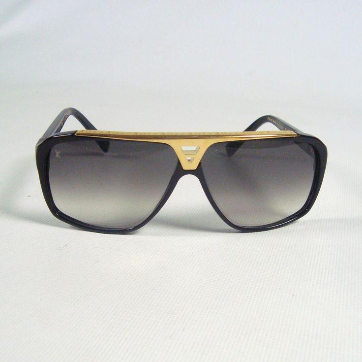 Louis Vuitton Sunglasses (Men's Pre-owned Black & Gold Aviator Sun Glasses,  LV