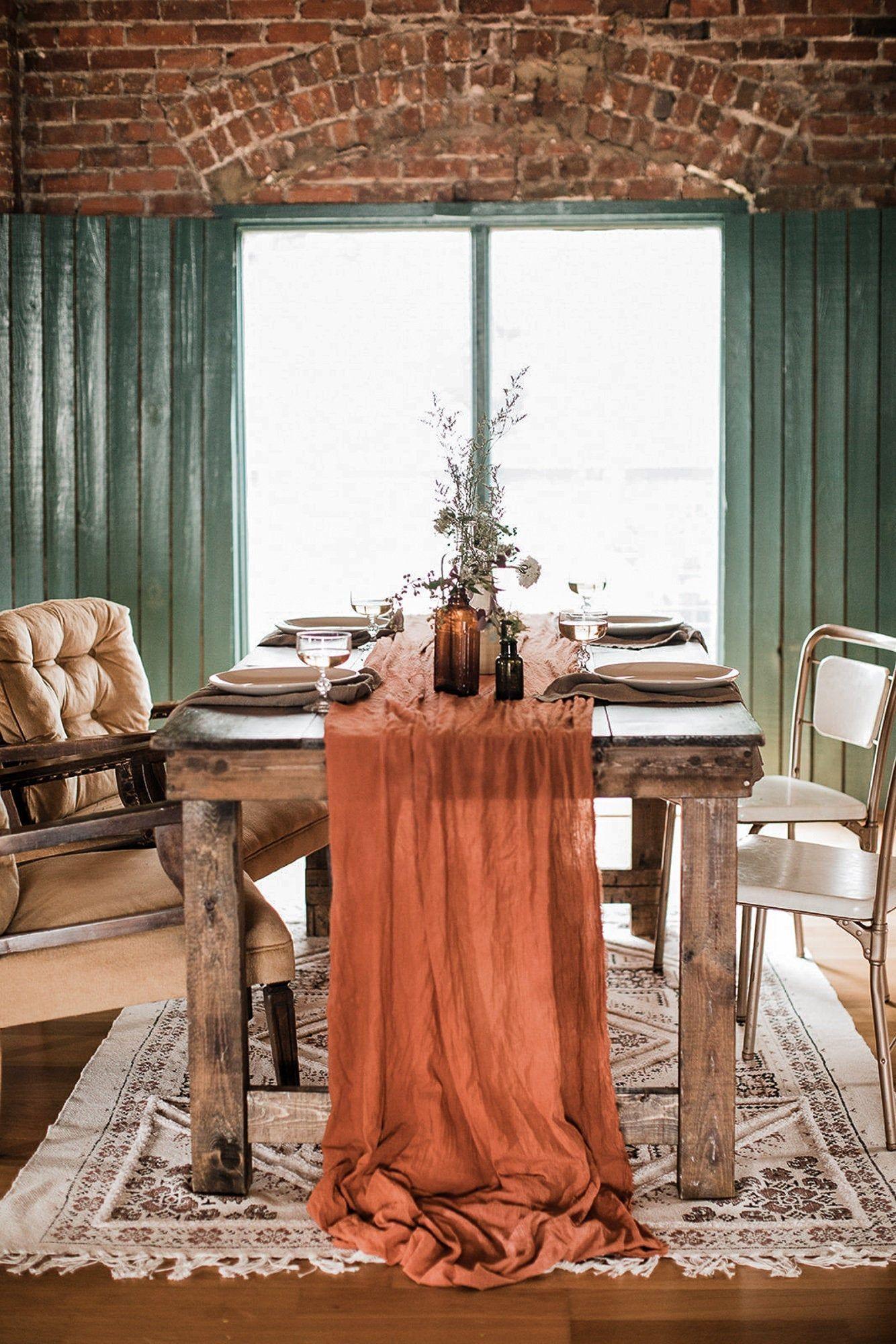 Terrakotta Tischlaufer Kasetuch Tischlaufer Kupfer Hochzeit