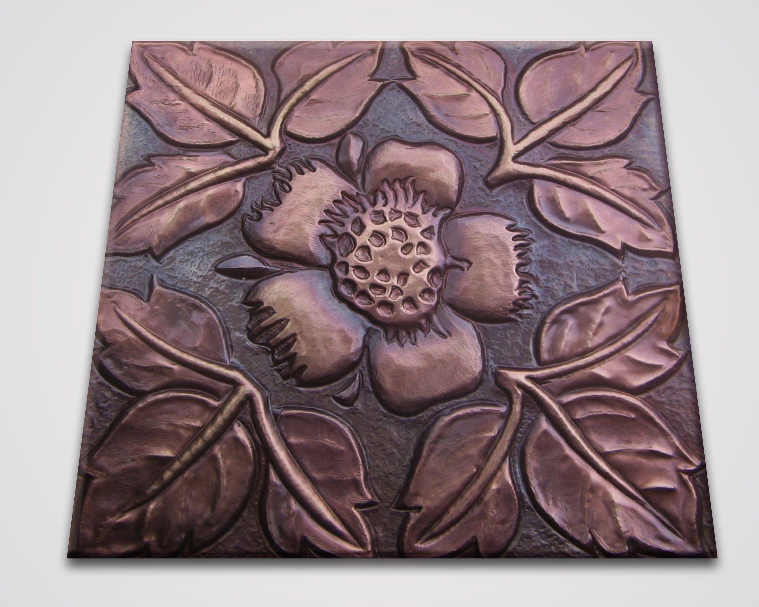 Copper tile set of 4 flower nature kitchen back splash etsy
