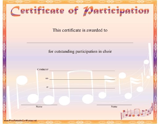 A Rainbow Hued Certificate Of Participation In Choir With Music
