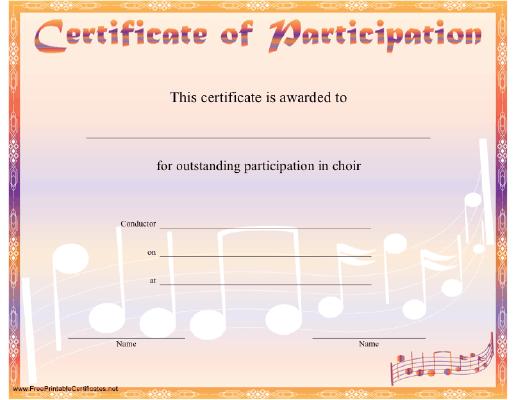 Choir Participation Certificate Printable Certificate Certificate Of Participation Template Certificate Templates Awards Certificates Template