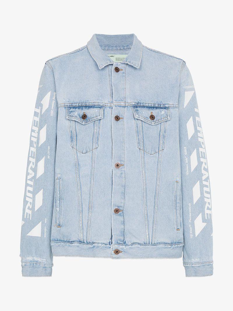 Off White Bleach Denim Jacket Men Clothing Denim Jacket Sleeve Bleached Denim Jacket Denim Jacket Bleached Denim