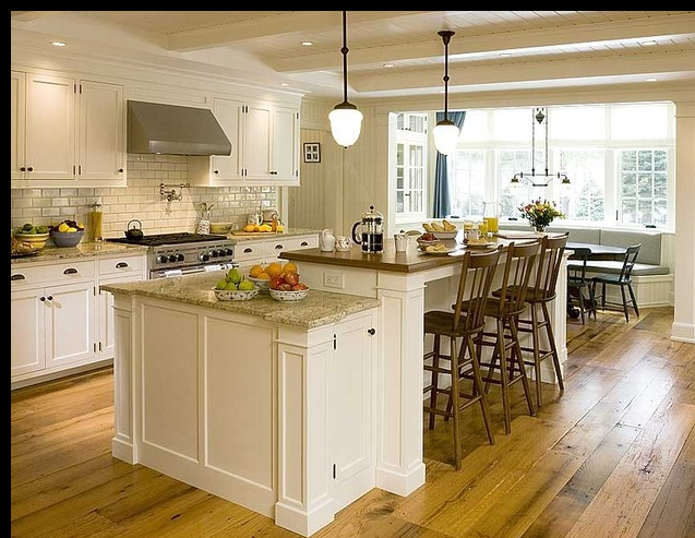 Split Level Island Kitchen With Seating For 6