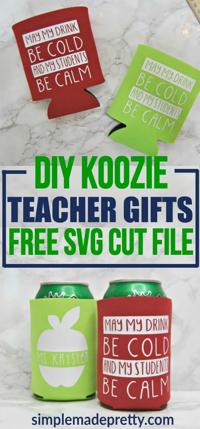 DIY Teacher Gift Ideas - Personalized Koozies