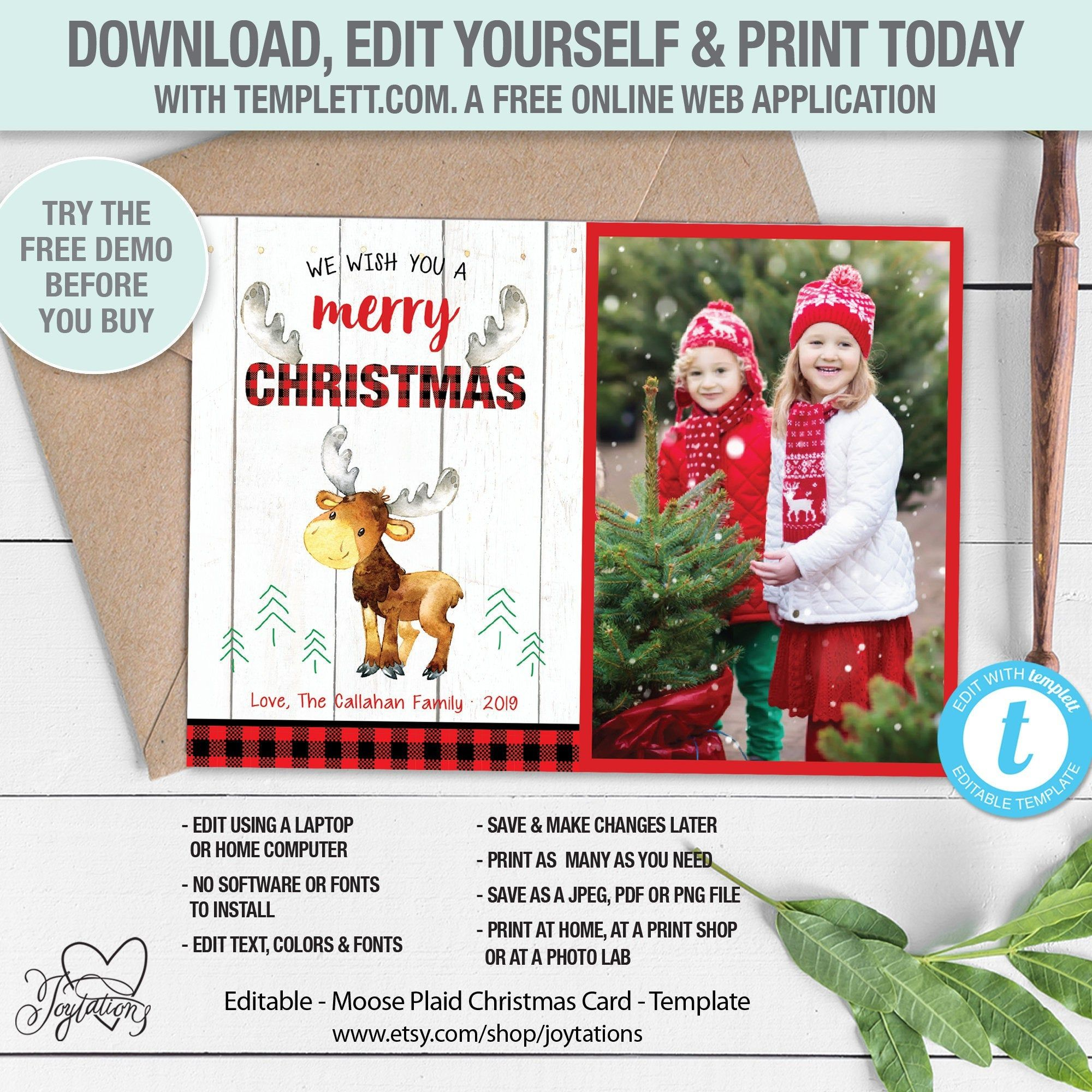 Editable Moose Plaid Holiday Greeting Card With Photos Template Photographs Pictures Christmas Card Holiday Greeting Cards Holiday Greetings Seasonal Cards