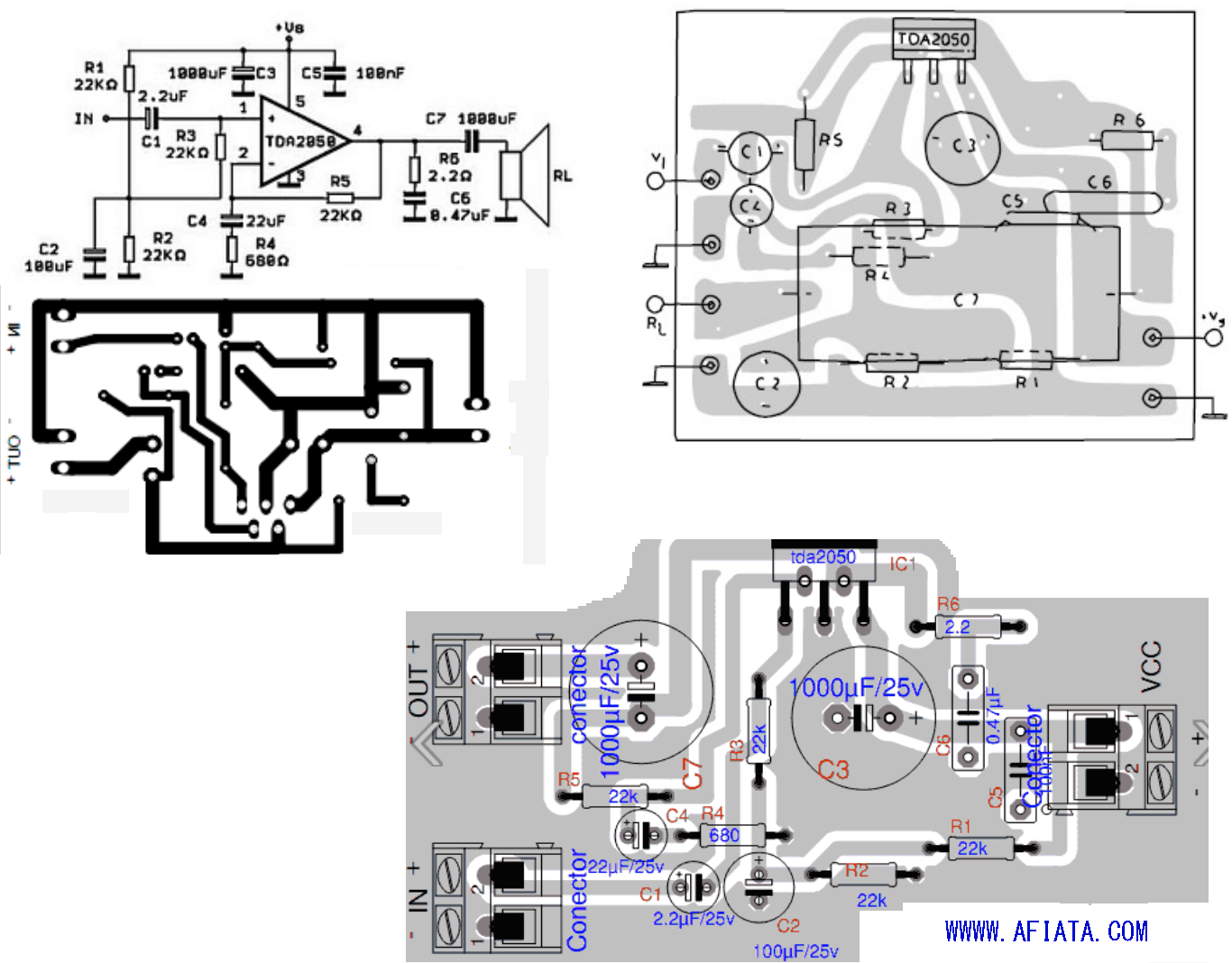 25 Watt Power Amplifier Using Tda2009 Tda2050 Layout And Circuit Diagram Electroncs Pinterest