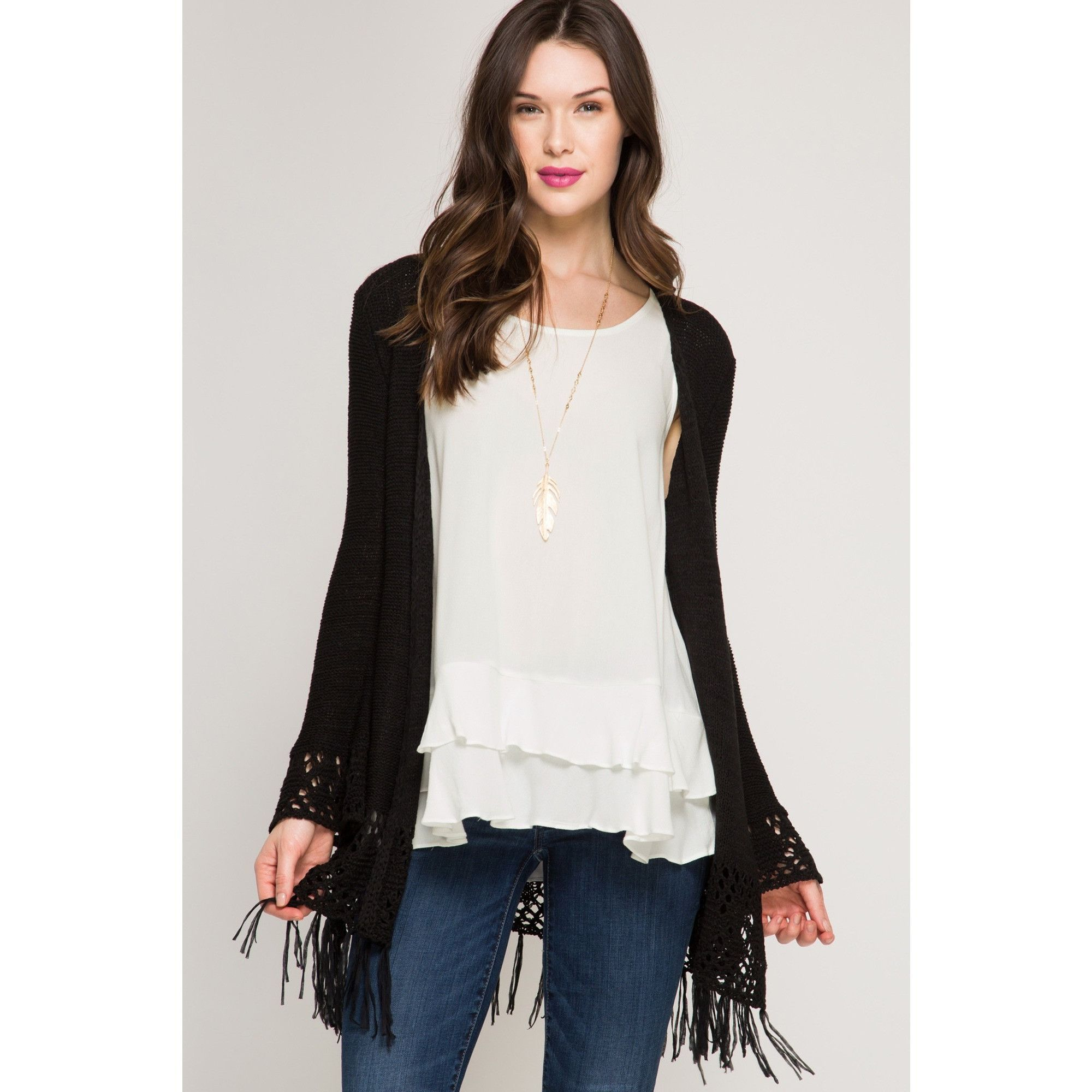 Black Crochet Cardigan with Flare Sleeves | Discover best ideas ...