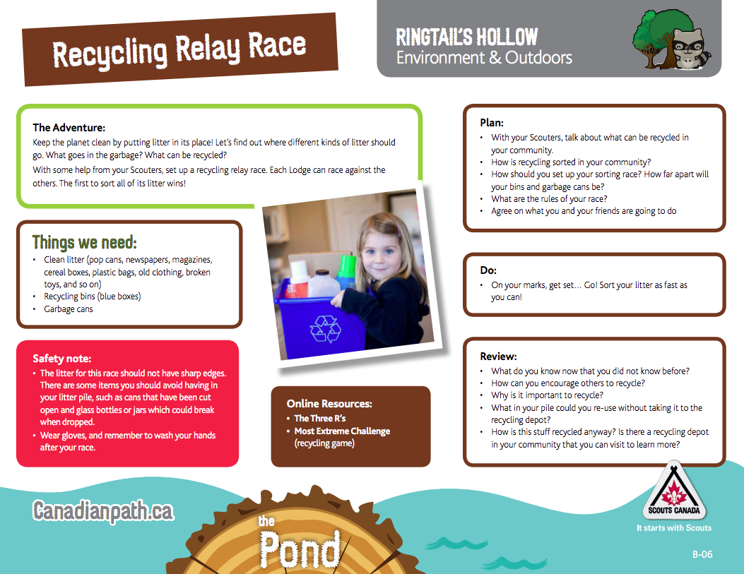 Ringtails Hollow Environment Outdoors Recycling Relay Race Basic Rules Trail Cards Are A Great Way To Explore New Ideas And Activities For Each Section On The