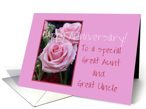 Great Aunt Great Uncle Happy Anniversary Pink Roses Card Wedding Anniversary Cards Wedding Anniversary Wishes Happy Anniversary Cards