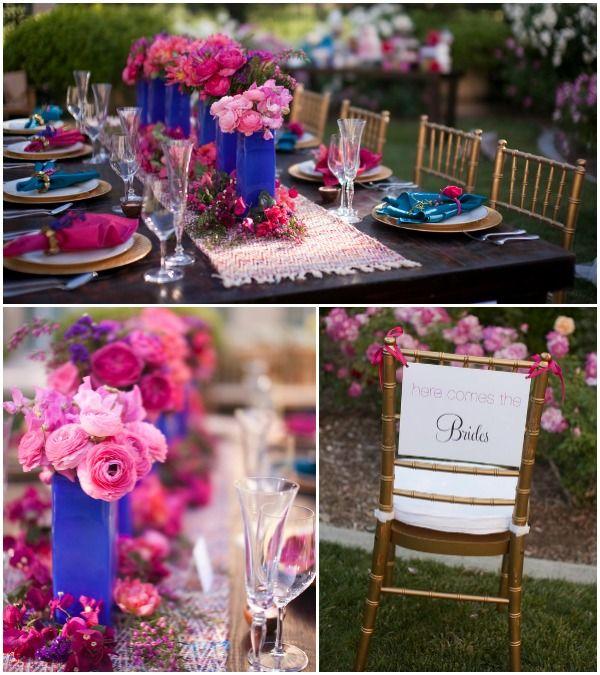 Pink Centerpieces Ideas: Pink & Cobalt Blue Lesbian Wedding Table Details {Cakes