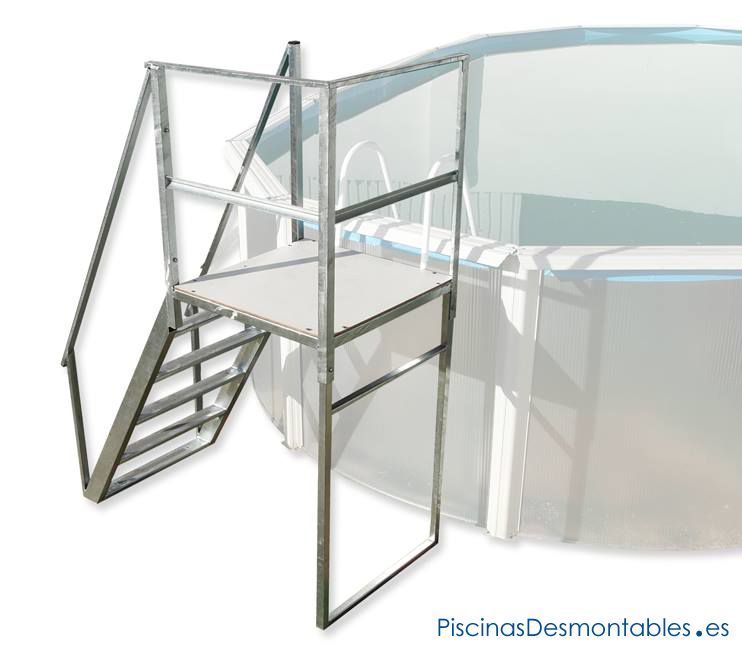 Escalera s per resistente para piscinas elevadas a for Piscinas de acero galvanizado