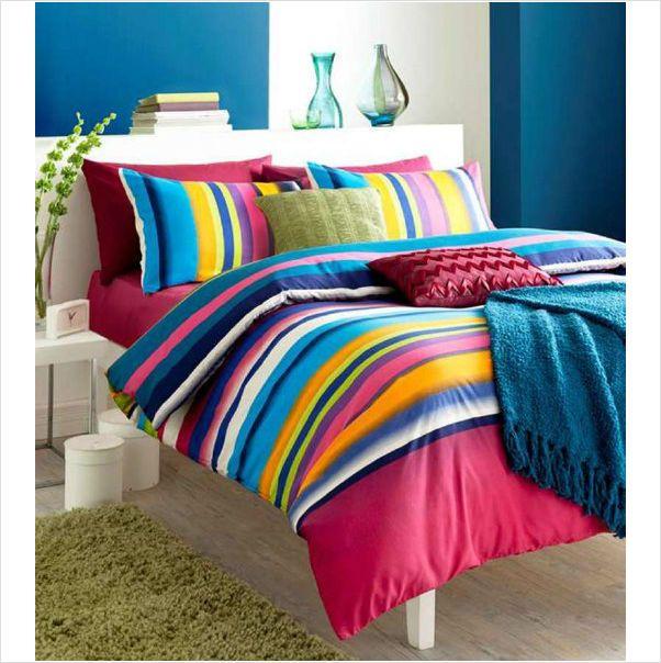 King Size Multi Coloured Bright Tonal Stripe Striped Duvet Cover Set 5055184945383 On Ebid United