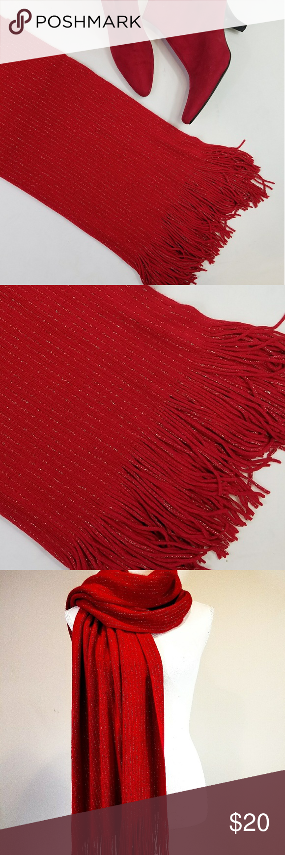 Pinstriped Scarf Clothes Design Red Scarves Fashion Design