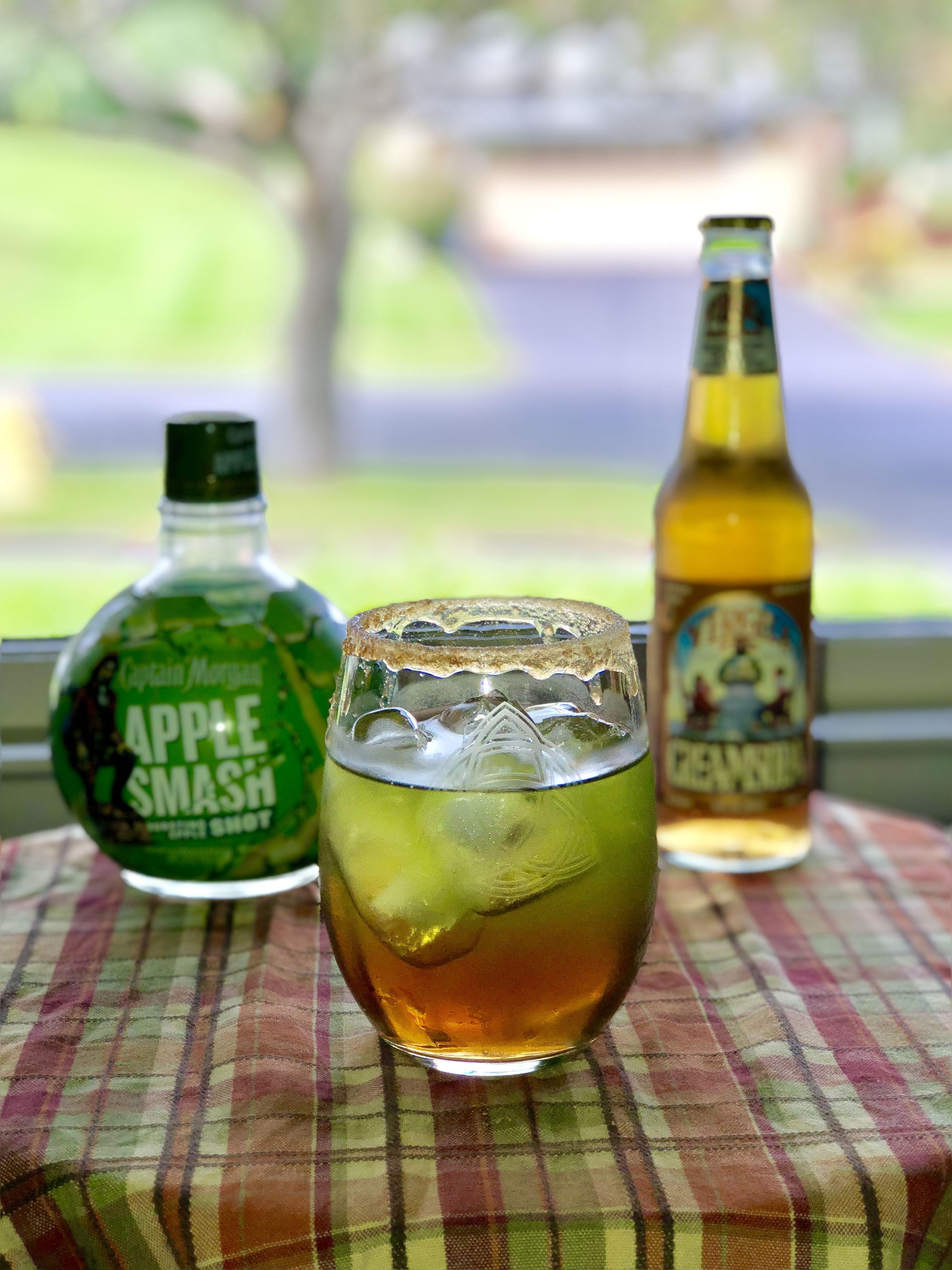Carmel Apple Smash 1 2oz Captain Morgan Apple Smash Rum 4oz Cream Soda Rim Glass With Caramel And Brown Sugar Or Ca Cream Soda Captain Morgan Liquor Drinks