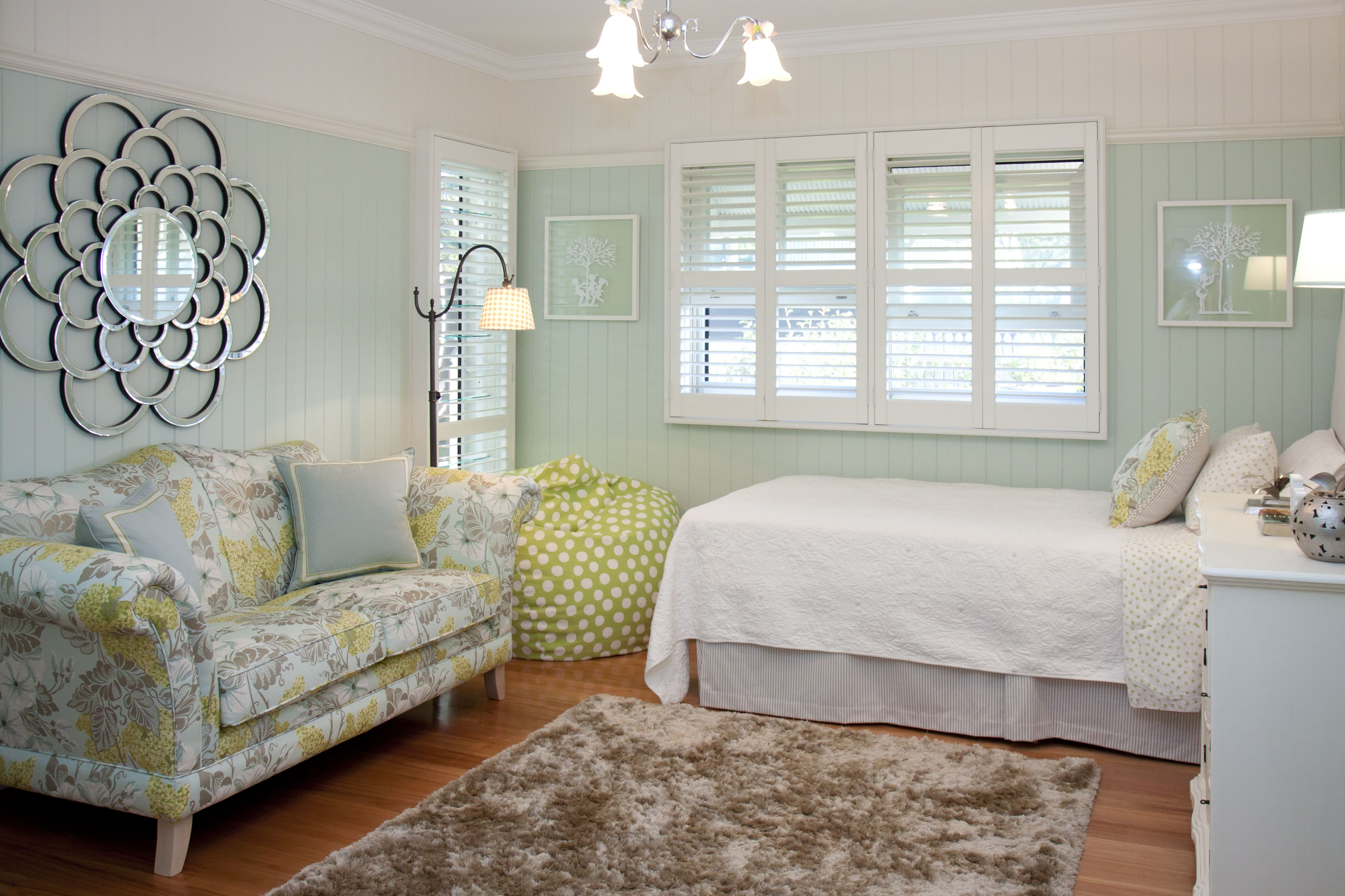 INTERIORS BY HIGHGATE HOUSE This gorgeous mint green bedroom is