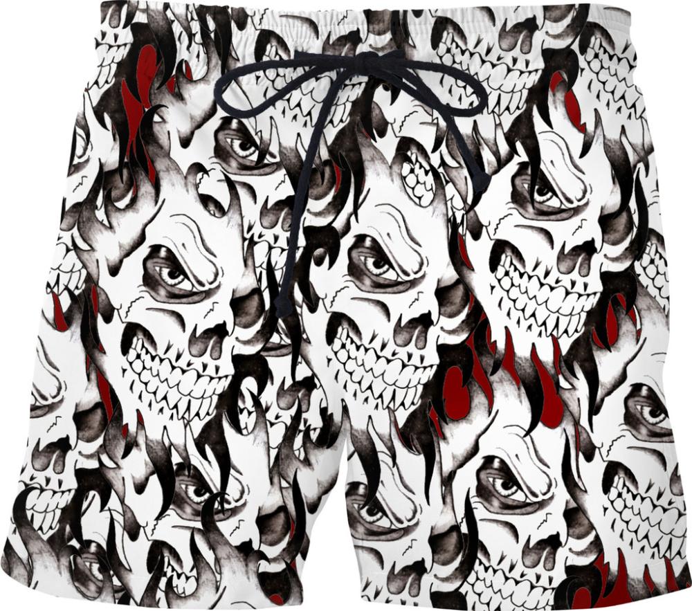 White Ghost Pattern Board Shorts For Men