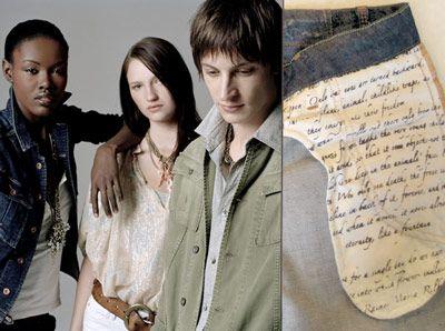 Edun Jeans has a poem printed inside of the pocket ... one of Rilkes elegies.