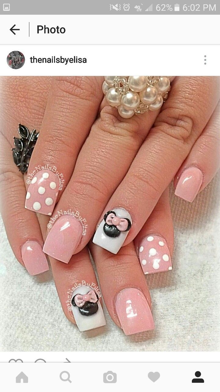pink Minnie mouse | Mickey nails, Minnie mouse nails ...