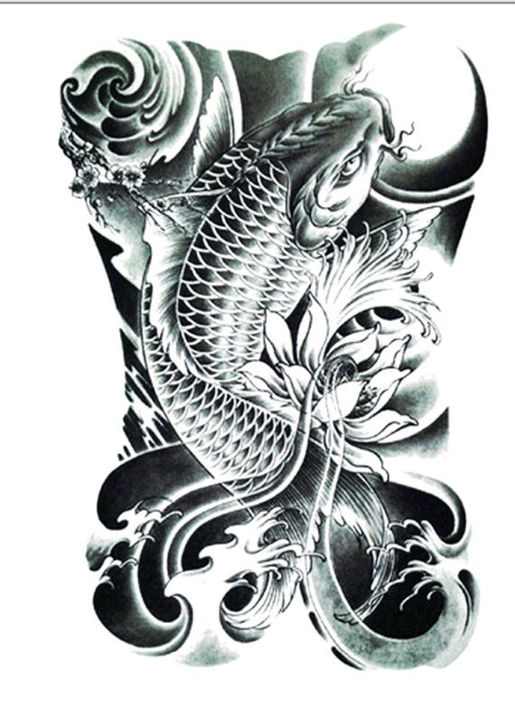 Koi Tattoo Temporary Tattoo Flash Tattoo Fake Tattoo Realistic Tattoo Temporary Tattoos Black And Gray Koi Tattoo Koi Tattoo Design Koi Dragon Tattoo