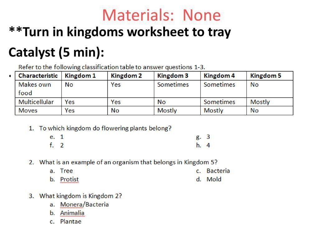 Binomial Nomenclature Worksheet Answers Materials None