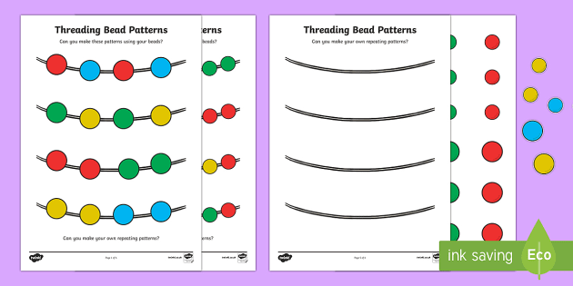 Repeating Pattern Bead Threading Activity Sheet - repeat ...
