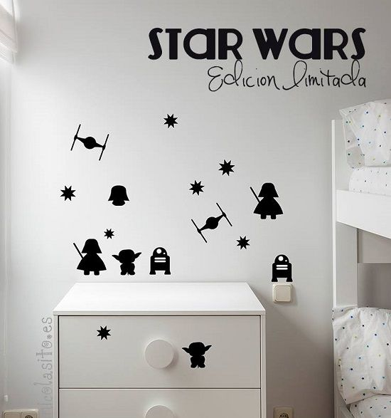 Mini vinilos de star wars for Stickers habitacion nina