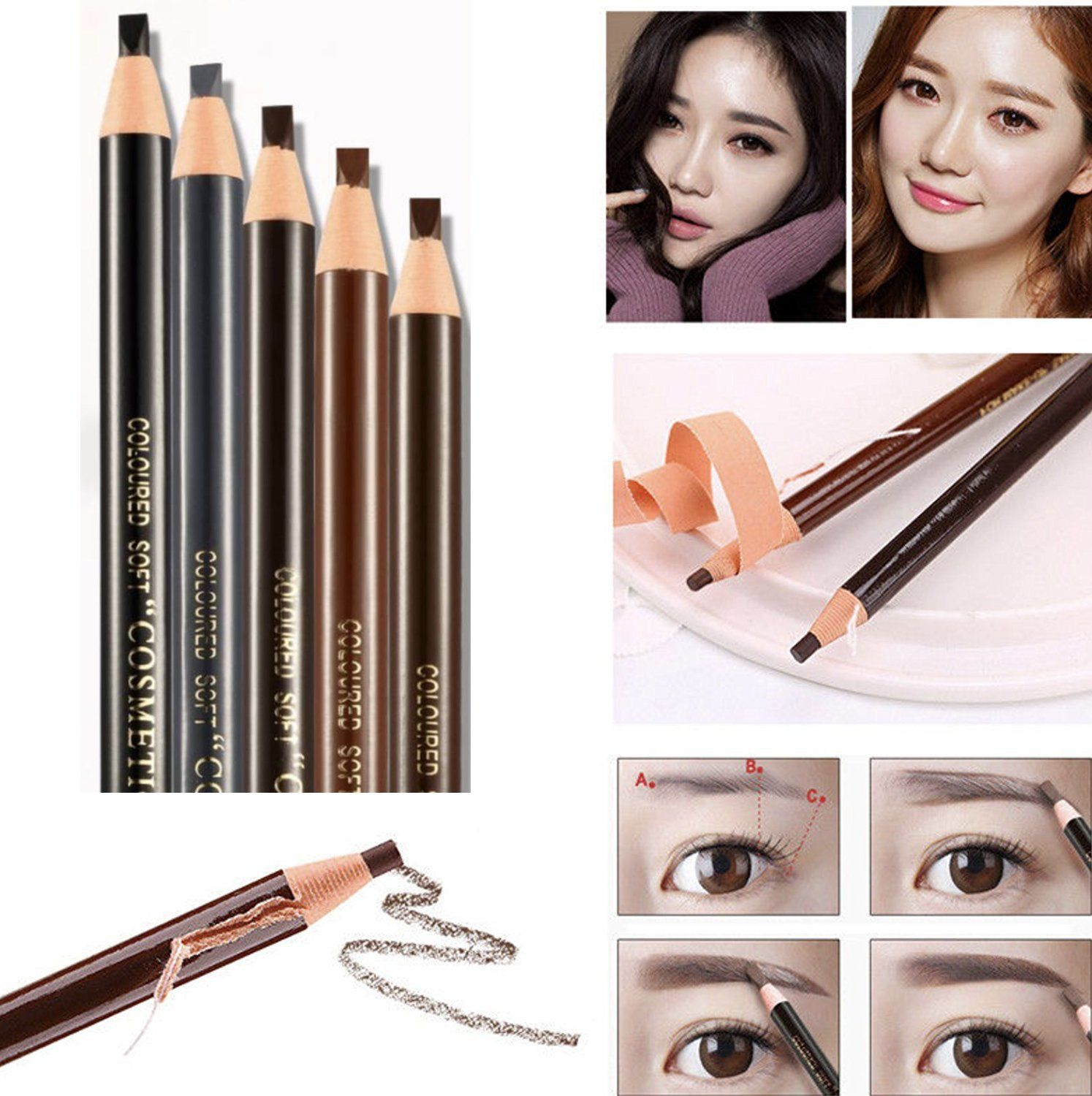 5pcs 5 Colors PeelOff Eye Brow Pencil Set For Marking