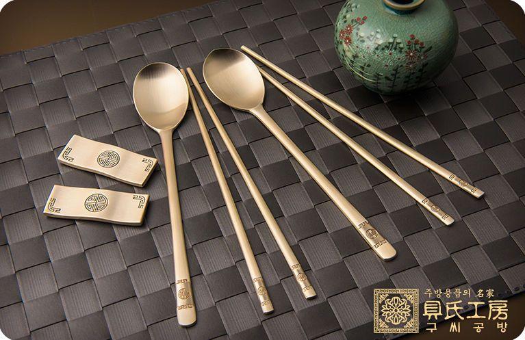 Korean Luxury Statuary Bronze Alloy Chopsticks And Spoons Set Copper78 Tin22 Spoon Set Ceramic Tableware Statuary