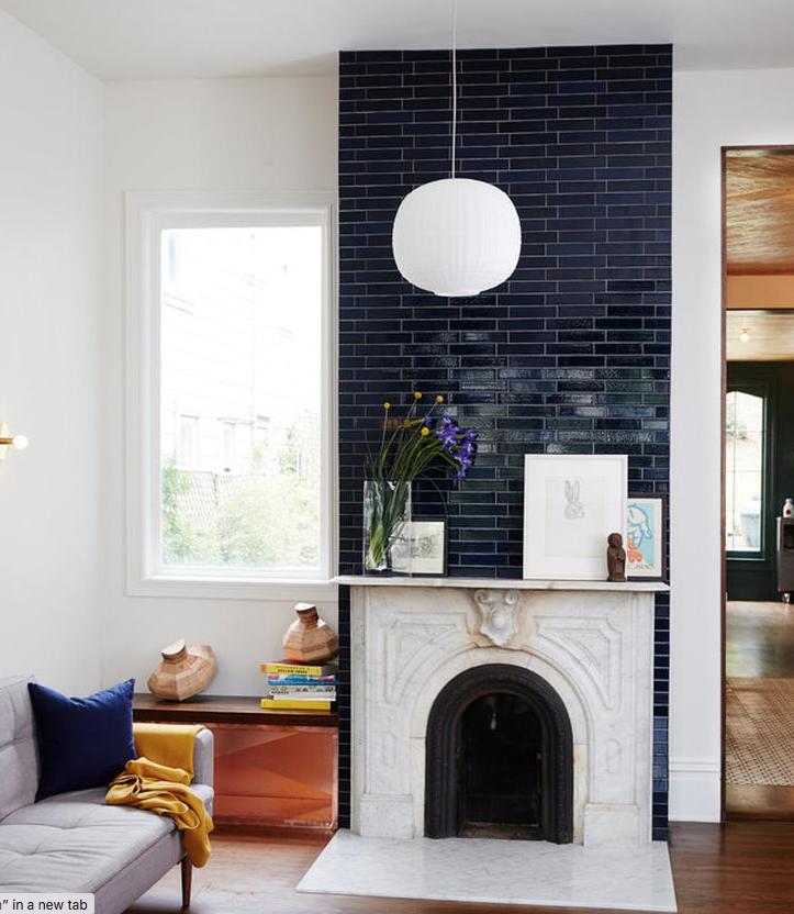 2 X 8 Navy Tiles Offset Fireplace Tile Surround Fireclay Tile Subway Tile Fireplace