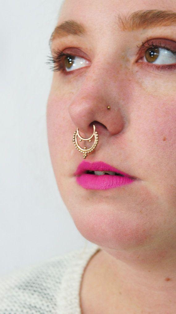 1 2mm 16g Septum Ring 10mm Nose Bull Hoop By Bandaruorganics Nose Piercing Septum Gold Ear Piercings Tragus