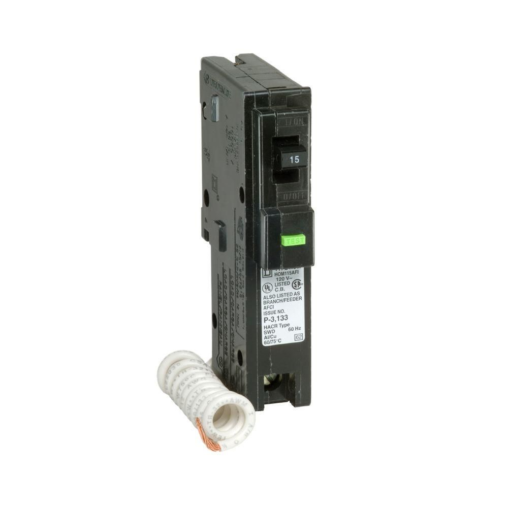 Homeline 15 Amp Single Pole Afci Circuit Breaker Circuits And Products Ampcircuits Square D Hom115afic The Home Depot Ampcircuitssquares
