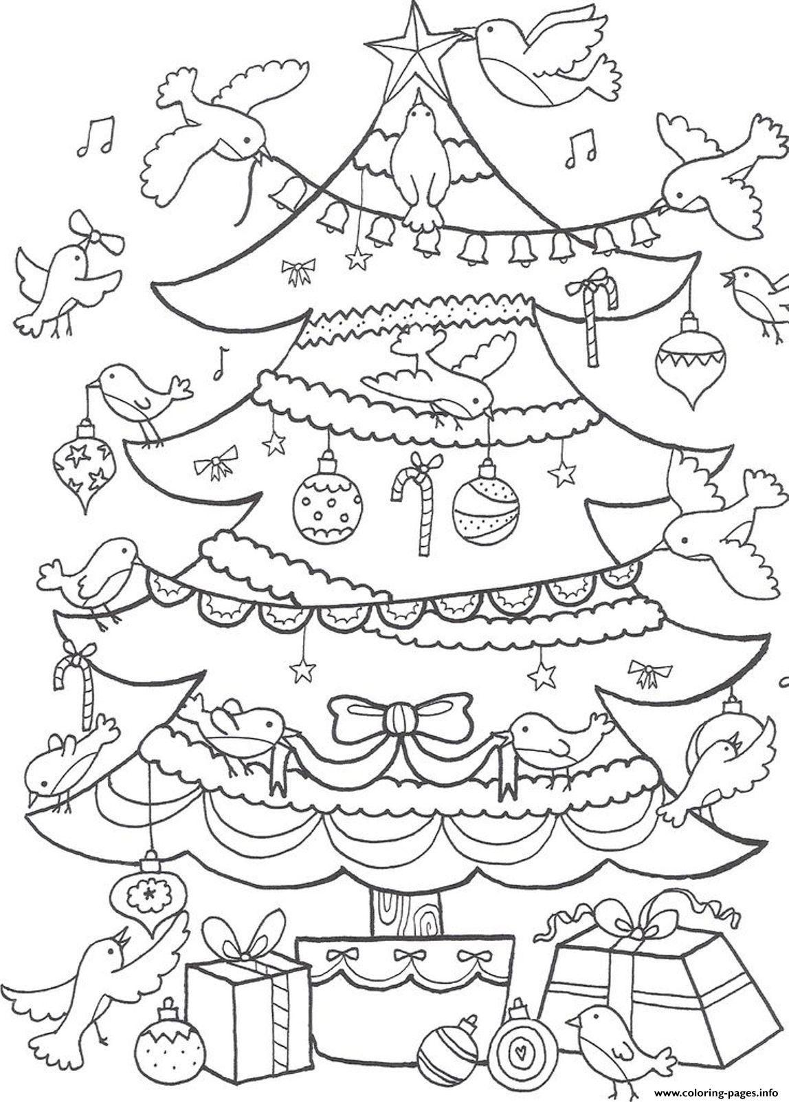 Print Birds Decorating Christmas Tree Coloring Pages Christmas Tree Coloring Page Tree Coloring Page Christmas Coloring Pages