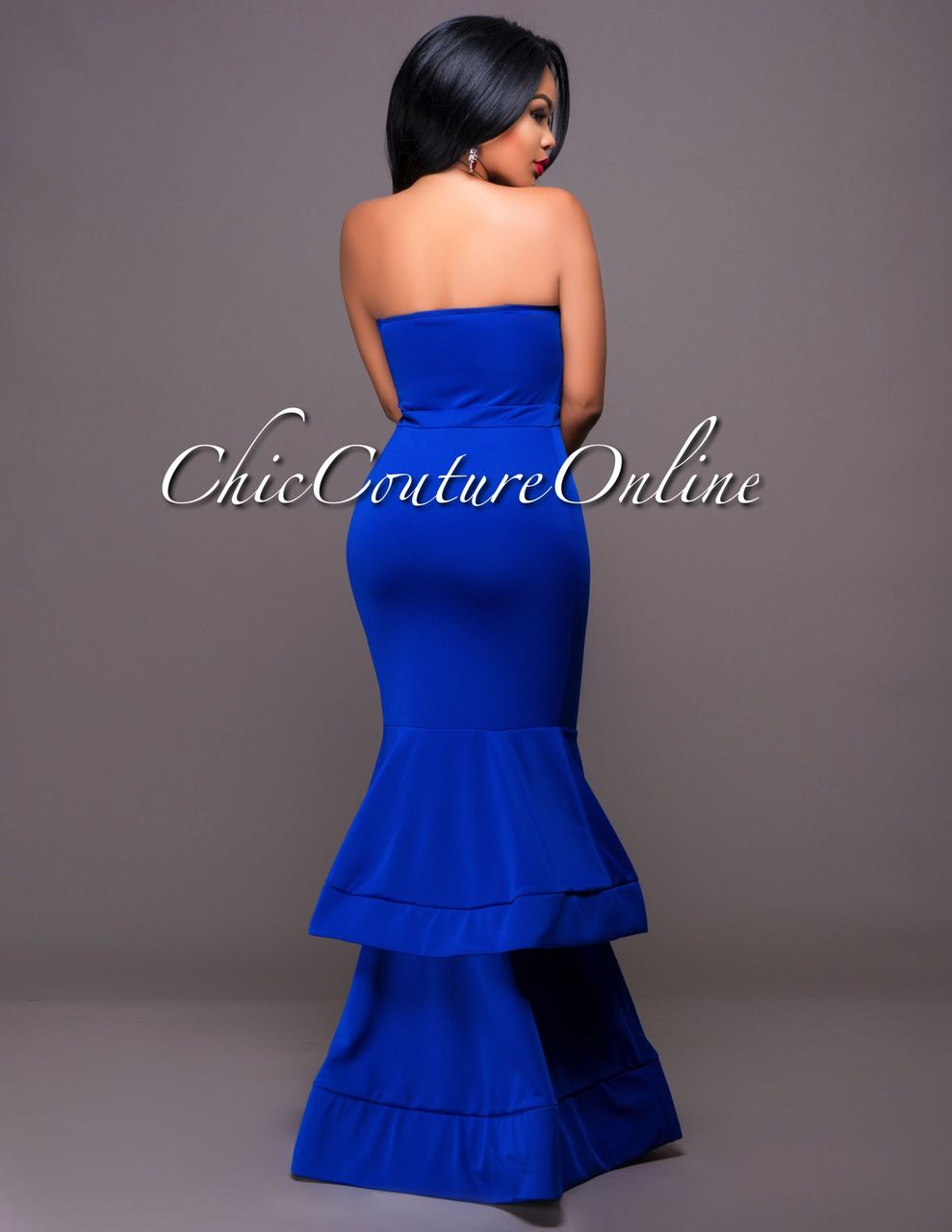 Chic Couture Online - Florence Royal-Blue Strapless Tier Padded Ponti Gown.(http://www.chiccoutureonline.com/florence-royal-blue-strapless-tier-padded-ponti-gown/)