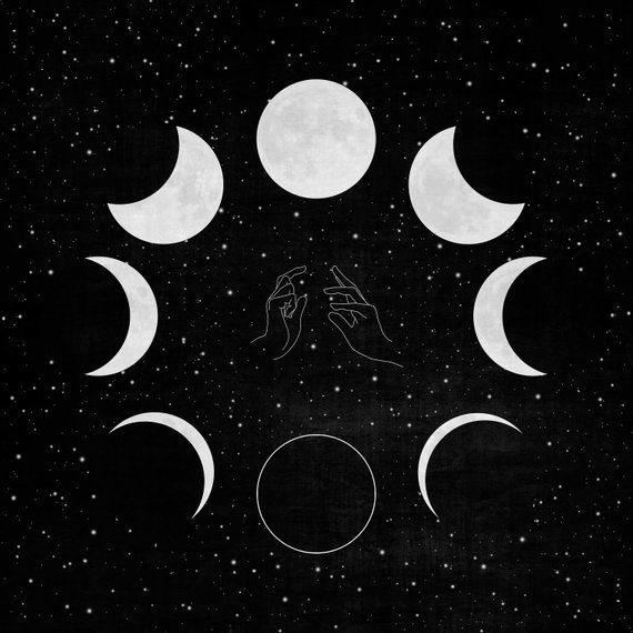 Black and white moon phases art print • Witchy moon art print • Astrology illustration